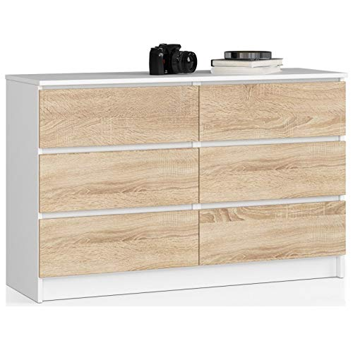 ADGO K120 - Comò moderno bicolore con 6 cassetti, lunghezza 120 x larghezza 40 x altezza 77 cm, colore: Bianco
