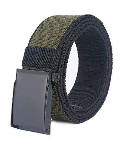 Longwu Cintura da uomo in tela di cotone con fibbia militare in metallo nero Flip-Top per il golf all'aperto Verde