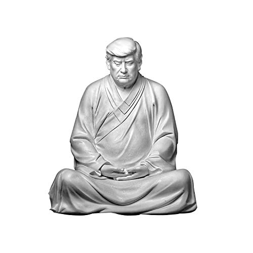 Former US President Donald Trump Resin Buddha President Statue, Handmade Model Souvenir Trump 2024, Xitian Listening Buddha Statue, Suitable for Cars, Office Desk and Home Accessories