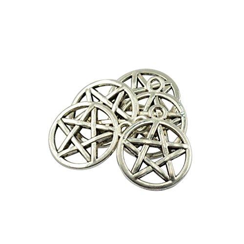 SDENSHI 50 Pieces Alloy Necklace Pendant Round Star Pentacle DIY Charms Connectors