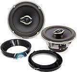 pkg HCX 165 - Hertz 6.5' 100W RMS Hi-Energy Coaxial Speakers + Arc Audio 5.25' to 6.5' Speaker Adapter Rings For Motorcycles