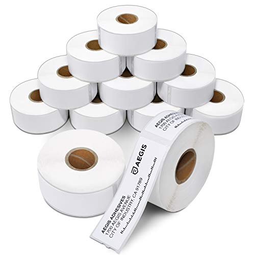 Aegis - Compatible Direct Thermal Labels Replacement for DYMO 30252 (1-1/8 X 3-1/2) Address & Barcode - Use with Labelwriter 450, 450 Turbo, 4XL Printers (12 Rolls)