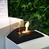 """JHY DESIGN Rectangular Tabletop Fire Bowl Pot Portable 13.5""""L Tabletop Fireplace–Clean-Burning Bio Ethanol Ventless Fireplace for Indoor Outdoor Patio Parties Events"""