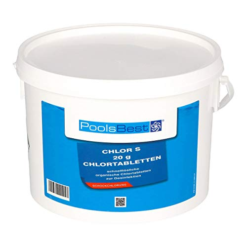 POOLSBEST 3 kg Chlortabs S 20 g Tabletten - schnelllösliche Clortabletten - Chlortabs wirken schnell gegen Bakterien, Pilze und Viren