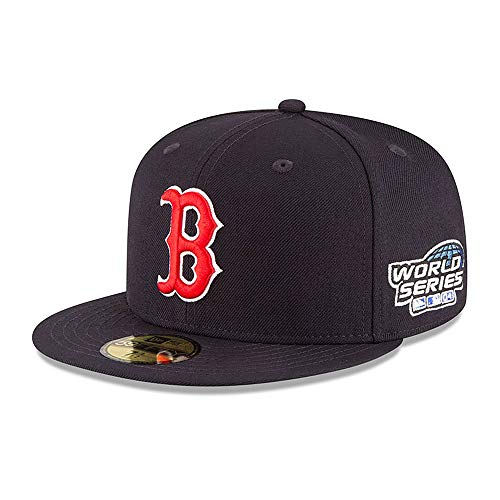 New Era Mens MLB 18 Wool World Series Boston Red Sox 2004 59Fifty Fitted Hat, Adult, Navy, 8