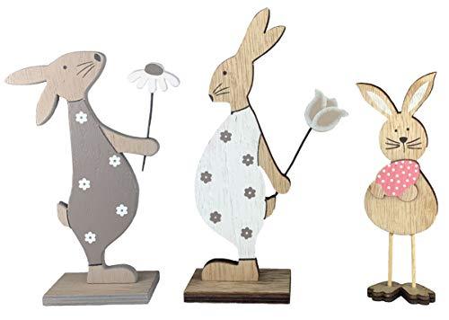 endlos schenken Osterdeko Osterhasen aus Holz - Tischdeko Dekoration Ostern Deko (3er Set)