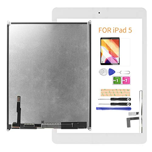 LADYSON Screen Replacement For iPad 5 2017 9.7inch A1822 A1823 (Not for Air 1) LCD Display Touch Screen Digitizer Matrix Repair Parts Kits with Home Button & Free Tools Set & Screen Protector (White)