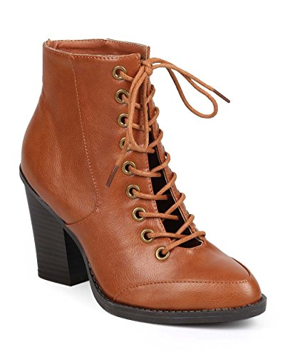 Wild Diva Women Leatherette Pointy Toe Tongueless Chunky Heel Military Boot DB30 - Whiskey (Size: 6.5)