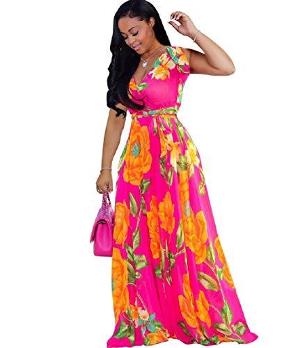 Bushangban Womens Chiffon Deep V Neck Printed Stylish Maxi Dress Dresses High Slim Waisted Belt Plus Size