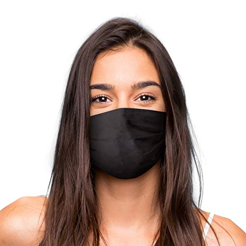 Mund Nasen Maske, wiederverwendbare Gesichtsmaske/Community-Maske in Universalgröße, handgefertigt in der EU, in unterschiedlichen Farben, Designs und Motiven (Schwarz)