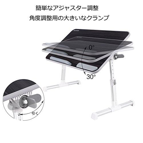 NEARPOW【改良版】折りたたみ式ノートパソコンスタンドベッドテーブル4つ組み立て方両・右・左利き対応ローテーブル机上台高さ角度調節可能多機能ベッドソファオフィス食事利用可(ブラック,60*32.5cm)
