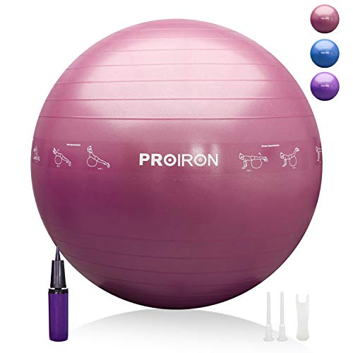 PROIRON Gymnastikball mit Lehrposen Schwangerschaft Yoga Ball 55/65/75 cm mit Pumpe und Stecker