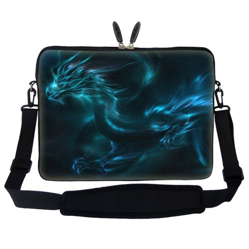 Meffort Inc 15 15.6 inch Neoprene Laptop Sleeve Bag Carrying Case with Hidden Handle and Adjustable Shoulder Strap - Blue Dragon Design