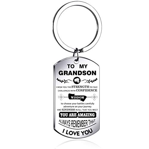 NOVLOVE Inspirational Keychain Dog Tag Pendant Keyring i wish you the strength to face challenges Grandson Gifts from Grandma Grandpa with birthday and Christmas gift, White