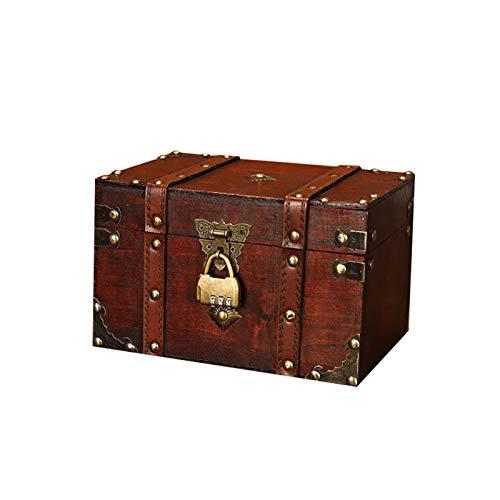 MKMKL Europäische Retro-Box, quadratischer Schmuckschatulle, Retro-Speicher- und Speicherhandwerk, Wandmontage-Regaldekoration,Brown b,22x15x13.5CM