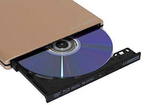 techPulse120 Externes UHD 4k 3D M-Disc BDXL USB 3.0 USB-C Laufwerk Blu-ray Brenner Burner Superdrive Slim BD DVD CD Ultra für Computer Notebook Ultrabook Windows Mac OS Apple iMAC Aluminium Gold
