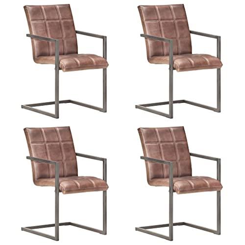 FAMIROSA Silla voladiza Comedor 4 uds Cuero auténtico marrón envejecido-7130