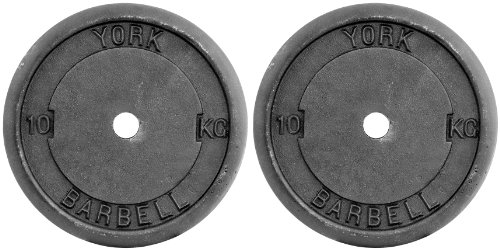 York Fitness Cast Iron Plates Weight Plates - Adjustable Dumbbell Weights Set Perfect for Bodybuilding Weight Lifting Home Gym Exercise Equipment - 2x10kg