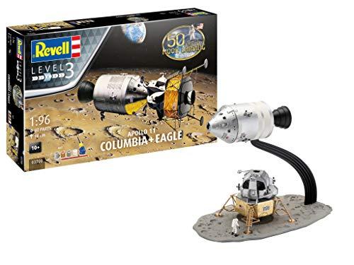 Revell- Apollo 11 Columbia & Eagle Kit di modelli in plastica, Colore Silver, 03700
