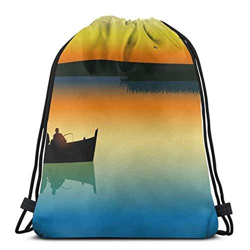 Silhouette Schiff Angeln Sonnenuntergang Ozean Kordelzug Taschen Leichtes Fitnessstudio Sport Bapa für Travel Beach Yoga