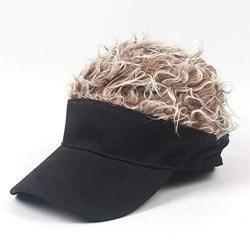 Sombrero para El Sol Popular Neutro de Moda al Aire Libre Parasol Gorra de béisbol con la Peluca, Apto for Internet Moderna Calle Hipsters (Color : Adult Black Coffee Wig)