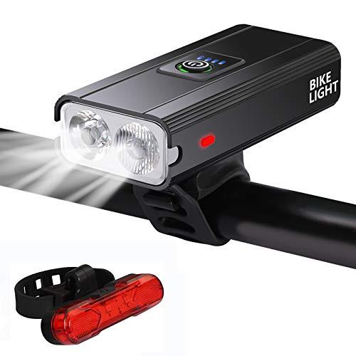 Usetcc 自転車ヘッドライト IPX6防水 自転車 ライト 高輝度 6つ調光モード 1000ルーメン 日本語説明書付き USB充電式 テールライト付き ライト残量表示 2400mAh大容量 懐中電灯/防災/地震対策/キャンプ/ハイキング/釣り/アウトドア/バイクに適用
