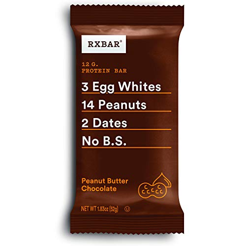 RXBAR, Peanut Butter Chocolate, Protein Bar, 1.83 Ounce (Pack of 24), High...