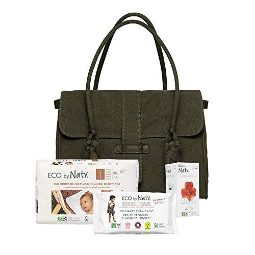 Eco by Naty, Wickeltasche beinhaltet 1 Packung Größe 1 Windeln, 1 Packung Baby-Feuchttücher ohne Duft, 1 Box Slipeinlagen Normal