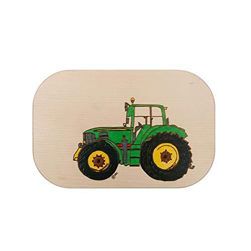 Brink Holzspielzeug Frühstücksbrett Trecker Traktor grün Holz Namen Frühstücksbrettchen mit kostenloser Gravur Vesper Brett