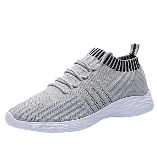 Sportschuhe Damen Sneaker Strick Atmungsaktive Fitnessschuhe Laufschuhe Turnschuhe Gym Fitness Leicht Schuhe rutschfeste Freizeitschuhe (EU:37, Grau)
