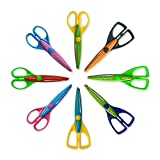 Colorful Decorative Paper Edge Scrapbooking Kids Craft Scissors Set, 8 Pack, Sharp and Durable Blade, Easy to Use. Ideal for Kids, Children, Scrapbooking, DIY Photos.
