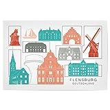 artboxONE Poster 60x40 cm Städte Flensburg Skyline Coral -
