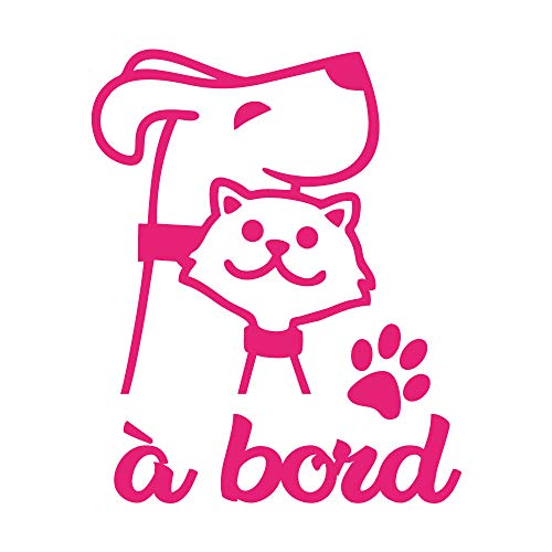 Sticker Friendly Animal à Bord - Dimensions 13,5 cm x 11 cm - Couleur Rose - Aspect Brillant - Protection Anti UV