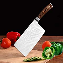 Premier Meat Cleaver: High-quality carbon stainless steel is an ideal gift for any home or professional kitchen chef. It can greatly increase the hardness of the cooking knife at 58-60 RHC. Metal elements such as chromium, molybdenum and vanadium hav...