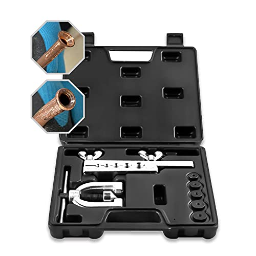 ICOOL Auto Single & Double Flaring Tool Kit for Copper Aluminum Soft Steel Brake Line Brass Tubing...