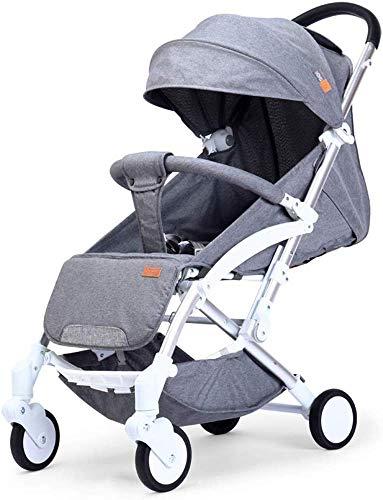 Baby carriage Hot Mom Pushchair Leichter,kompakter Kinderwagen von Geburt an bis 25 kg,klappbarer,vierrädriger Kinderwagen,geländegängiger Fünf-Punkt-Gurt mit UV-Schutz,Grau
