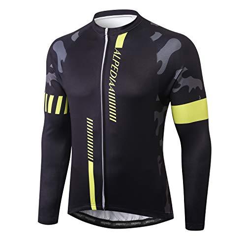 Alpediaa Herren Fahrradbekleidung Langarm Radtrikot Set Outdoor Radsport Gemütlich Radkleidung Trikot Jersey ESLONG108-4