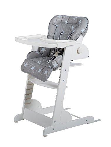 Roba Chill Up-trapstoel, houten hoge stoel met ligfunctie, van geboorte naar meegroeiende babystoel tot kinderstoel Little Stars Little Stars