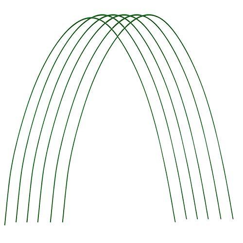 æ— Lot de 12 cerceaux de serre de jardin en acier avec revêtement en plastique antirouille - Arceau arqué pour filet et parterres surélevés - 12 pièces