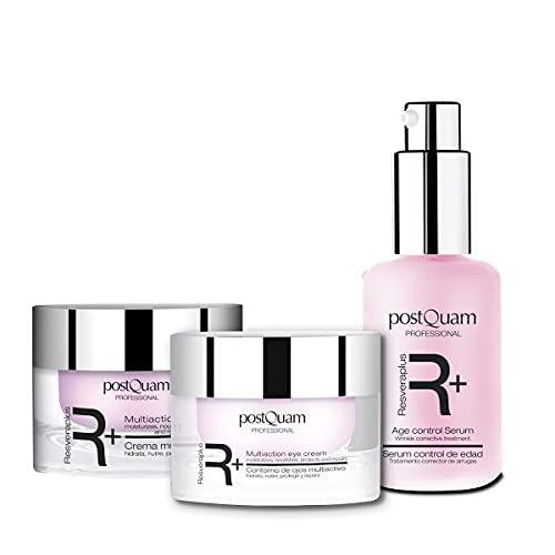 Postquam - Resveraplus | Pack Crema Antiarrugas Mujer: Crema de Día 50 ml + Sérum 30 ml + Contorno de Ojos 15ml - Cuidado Antiedad