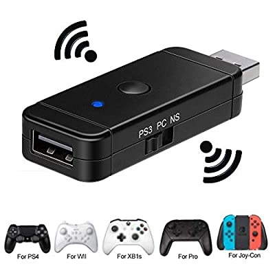 Controller Adapter USB for Nintendo Switch PS3 PC, Dongle Bluetooth Compatible with PS3/ PS4 /Xbox 360/ Xbox One X/ Xbox One S/ Wii U Pro/ Windows PC/ Switch Pro Controller Converter Adaptor