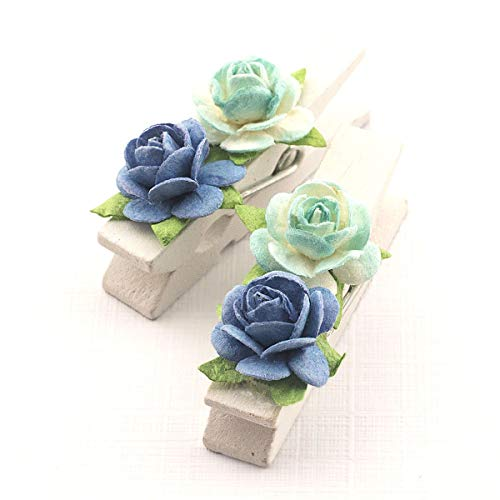 Summer-Ray 50 Handmade Mulberry Flower Decorated Mini White Wooden Clothespin Wedding Favors Decoration (Blue)