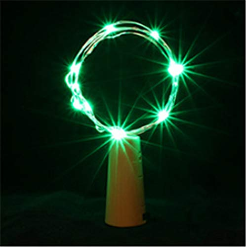 Stylish and Easy to Install Christmas Light String 1m 2m 3m Bottle Corks Light String Garland Glass Crafts Decorate Lights Lamp New Year Christmas Decorations for Home. (Color : Green)