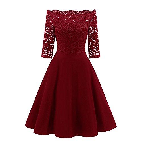 Loveso Damen Elegante Schulterfrei Trägerlose Spitzen Kleider Langarm Retro Rockabilly Noble Kleid...