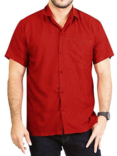 LA LEELA Casual Oficina Camisa Hawaiana Manga Corta Bolsillo Delantero...