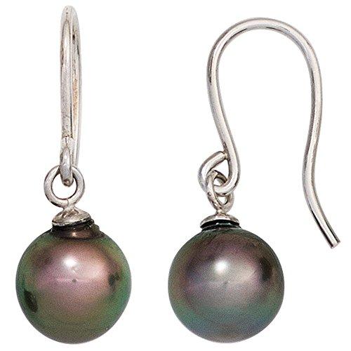 JOBO Damen-Ohrhänger aus 585 Weißgold mit dunklen Tahiti-Perlen