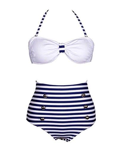 DELEY Mujeres Elegantes Rayas Azul Marino Alta Cintura Bikini Traje De Baño