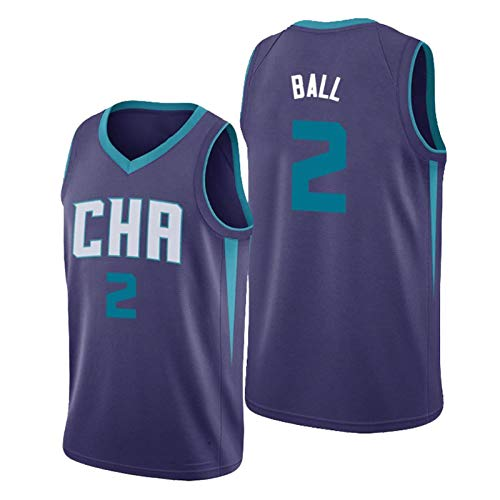 XZDM Ramello-Bauer Herren Trikot, Charlotte Hornets 2020/21 Fan Trikot, Basketball Uniform T-Shirt Sport Top Weste #2, Polyester Schnelltrocknendes Atmungsaktives Sweatsh blue3-L