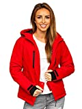 BOLF Mujer Chaqueta Esqui de Invierno con Capucha Cierre de Cremallera Plumas Jacket Cazadora Snowboard Zip Deporte Ocio Estilo Estilo Diario HH012 Rojo M [D4D]
