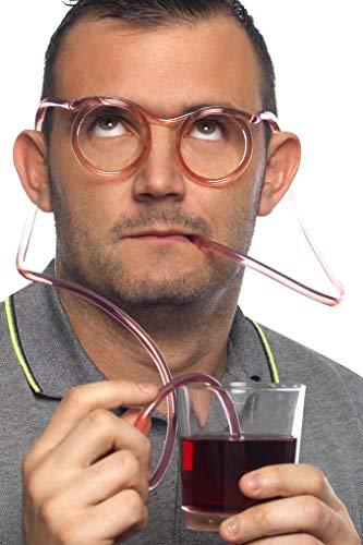 Smiffys Unisex Strohhalm Brille, One Size, Durchsichtig, 23735